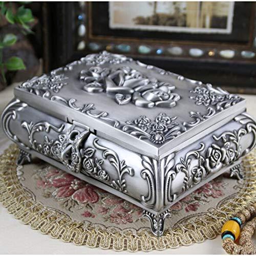 LKJLIN Schmuckkästchen Vintage Jewellery Case Modeschmuck Box Zink-Legierung Metall Schmuckschatulle Geschnitzt Blume Rose Quadrat Geformt,Zinn Farbe