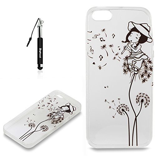 Coque iPhone 5S Case Silicone Flamant,Huphant Etui pour telephone avec TPU Silicone Cas iPhone SE Housse Crystal with Coque couleurs for iPhone 5S Etui silicone TPU Flamant Fleurs Datura Fille Pissenl Fille Pissenlit