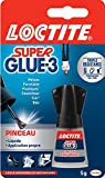 Loctite Super Glue-3 Pinceau, colle forte facile à utiliser avec son pinceau applicateur, colle liquide à séchage instantané, colle transparente, flacon de colle 5 g