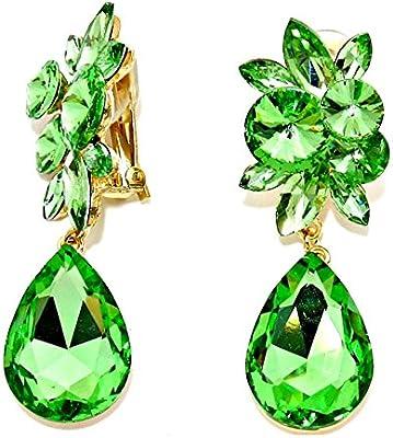 Statement Luxus clip clips para las orejas pendientes de 3 niveles de cristal verde claro verde 7,2 cm de largo