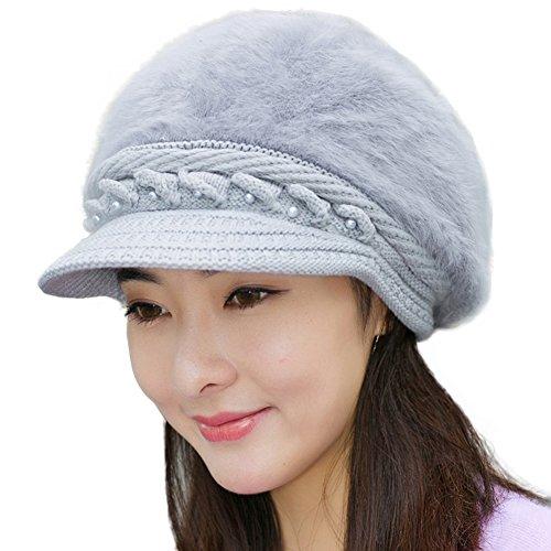 Women Newsboy Cabbie Beret Cap Bakerboy Visor Peaked Winter Vintage Ivy Flat Hat (Style 1 - Grey) Multi Color Knit Skull Cap