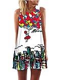 Minetom Mujer Mini Vestido Moda Atractiva Dress Cuello Redondo Sin Tirantes Dress Guay Verano Sin Mangas Beachwear Playa Chaleco Impreso Preciosos Hermoso Globo ES 42