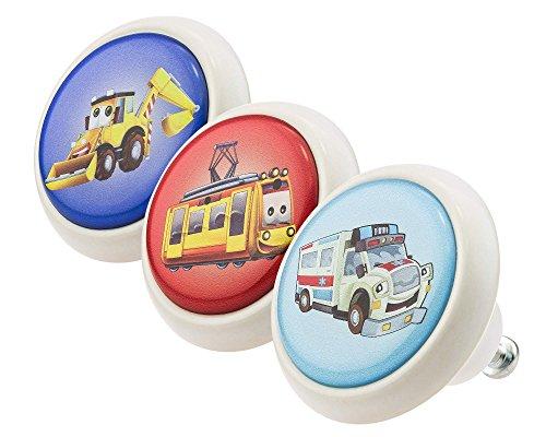 Designer Möbelknopf Set bunt 3er ECO030 Autos Fahrzeuge Kinder - schwarz weiß rosa grau rot blau grün rot gelb ca. 4,3 cm Durchmesser Oberfläche in glänzender edler Glas Optik Antik - Kommode Autos Knöpfe
