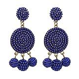 QiXuan Mujer Bohemio 14K Pendientes chapados en oro Pendientes tejiendo cuelga alrededor Pendientes de gota (azul marino)