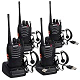 4 Pack BF-888S USB Rechargeable Walkie Talkies Long Range 5W 16CH CTCSS DCS