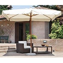 PEGANE Parasol centré carré 3 x 3 m Coloris Bois Teck Polyester 230 GR- A Usage Professionnel