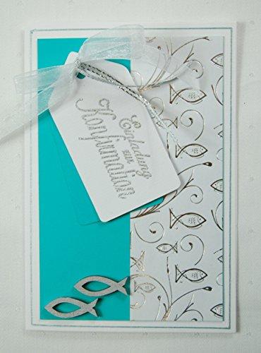Kartenkunst 8 x Hochwertige Einladungskarten zur Konfirmation Fische - türkis *Handmade*