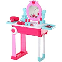 HALO NATION Lights Music Beauty Dressing Table Toy with Trolley Case for Girls (Pink)