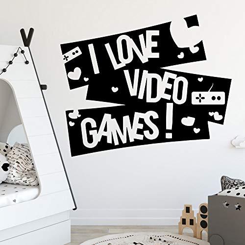 Exquisite Zitate Ich Liebe Gamer Für Raumdekoration Zubehör Für Gameroom Decor Kinderzimmer Tür Vinyl Kunst Aufkleber Weiß XL 58 cm X 69 cm