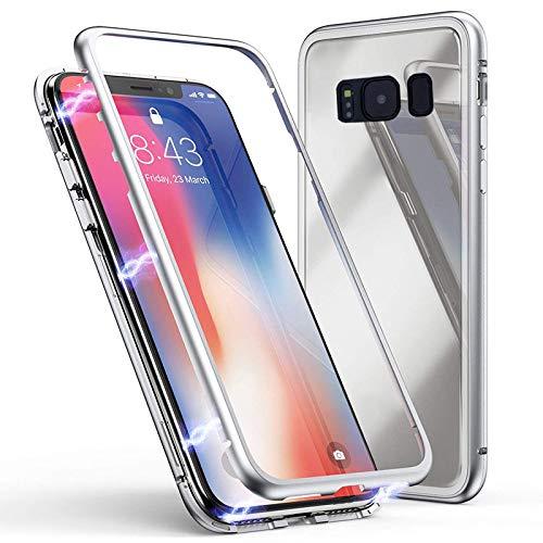 Silber, Glas, Audio (Jonwelsy Kompatibel mit Samsung Galaxy Note 9 Hülle, Stark Magnetische Adsorption Technologie, Ultra dünn Metallrahmen Transparent Gehärtetes Glas Rückseite Case Cover für Note 9 (Silber))