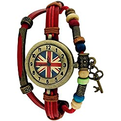 Medley Union Jack Dial Red Leather & Cord Beads Watch Pull Closure MED04