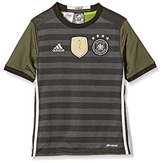 adidas Kinder UEFA EURO 2016 DFB Auswärtstrikot Replica, Gr. 176 (15-16 ans), Grau (Gris - Dark Grey Heather/Off White/Base Green S15)