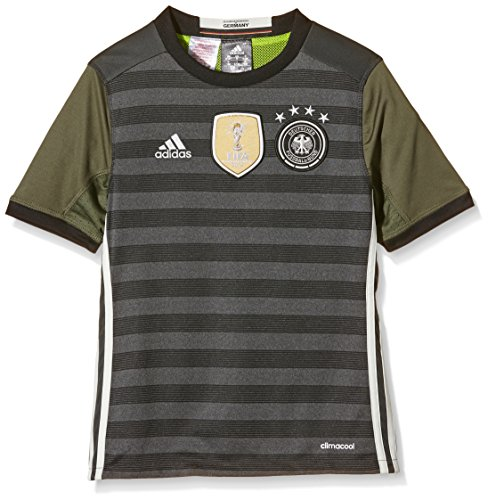 adidas Kinder UEFA EURO 2016 DFB Auswärtstrikot Replica,Gr. 140 (9-10 ans), Grau (Gris - Dark Grey Heather/Off White/Base Green S15)