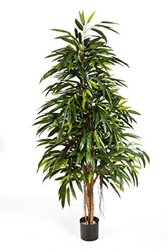 artplants – Königliche Kunst-Longifolia LENYA, 1248 Blätter, grün, 210 cm – Kunstpflanze/Deko Baum