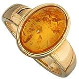 JOBO Damen-Ring 585 Gold Gelbgold 1 Bernstein