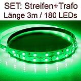SET LED Strip Streifen GRÜN 3 Meter inkl. Netzteil PCB weiss