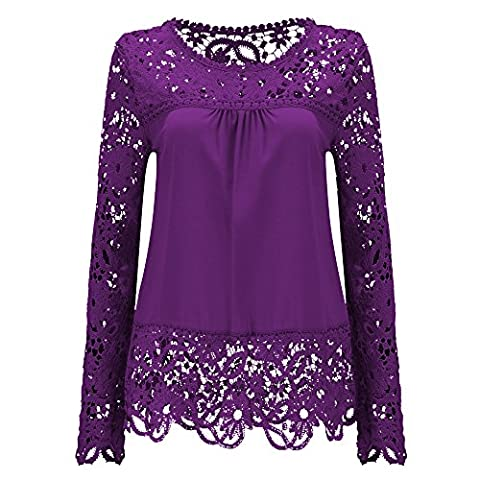 Women Long Sleeve Embroidery Lace Chiffon Tops