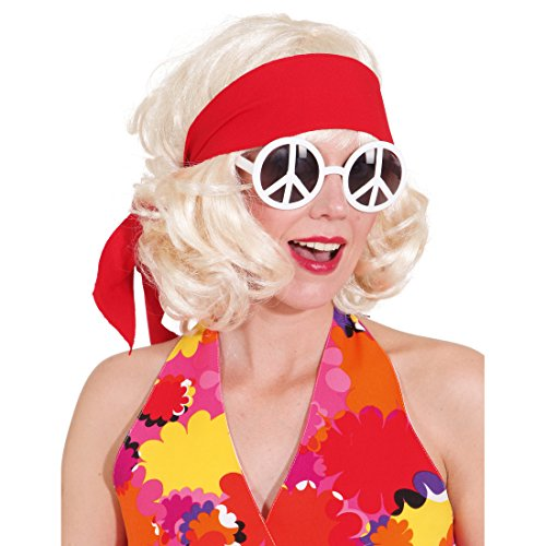 Hippie Haarband 70er Jahre Stirnband rot Flower Power Kopfband 60er Jahre Haar Band Peace Haarschmuck Fasching Mottoparty Kopfschmuck Karnevalskostüme Accessoires