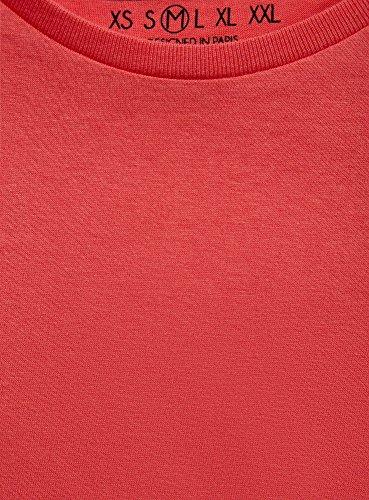 oodji Ultra Herren Gerades Tagless T-Shirt Basic Rot (4300N)