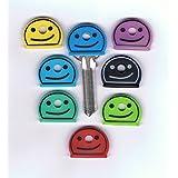 Kingofprezzies Lot de 8couvre-clés en forme de smiley
