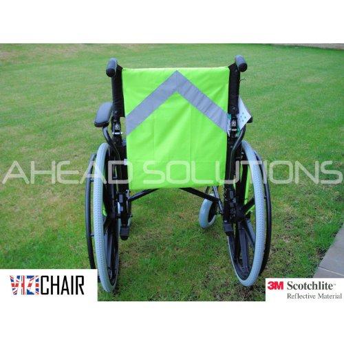 Reflektierende Warnweste für Rollstuhl oder Elektromobil Mit Warnhinweis. 3M Scotchlite übertrifft CE-EN-13356-Reflektorstandards. Mobilitätssicht-Zubehör für Sicherheit im Straßenverkehr für Rollstuhl oder Elektromobil. Behindertenlebenshilfe.