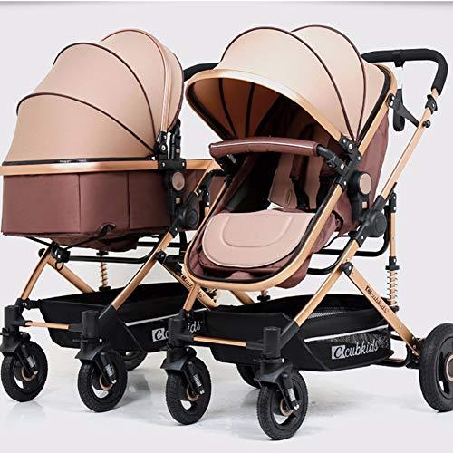 AWL-J Der abnehmbare Zwillingskinderwagen kann auf dem hohen Landschaftskinderwagen sitzen,Beige