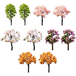 10X Toruiwa Miniatur Garten Märchengarten Baum für Dollhouse Bonsai Handwerk Gartenlandschaft