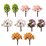 Milopon 10x Mini Gartendeko Micro Landschaft Deko Miniatur Baum aus Harz für Puppenhaus Puppenhausmöbel Gartenmöbel Deko Garten