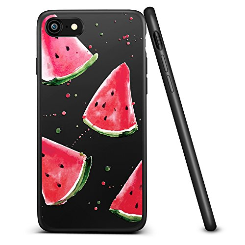 iPhone 7 Hülle, ESR® Aquarellmalerei Matt Schwarz Hülle, Weiche Silikon Rahmen + Hart PC Zurück Schutzhülle für iPhone 7 (4,7 Zoll) (Wassermelone)