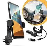 mobilefox® 2in1 Set KFZ Handy Fledermaus Lüftungsgitter Halter Halterung + Typ-C Ladekabel f Samsung Galaxy Note 9 8 A3 A5 (2017) A6 A8 J6