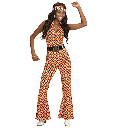 Preisvergleich Produktbild 70er Jahre Jumpsuit Damen Kostüm Siebziger Schlager Retro Body Einteiler 70-er (Large, Rhombus orange braun)