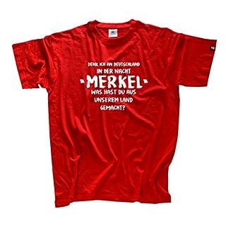 Denk ich an Deutschland in der Nacht-Merkel T-Shirt Rot XXL