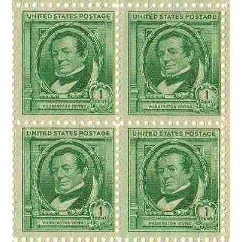 Washington Irving Set of 4 x 1 Cent US Postage Stamps NEW Scot 859 by (Francobolli Washington)