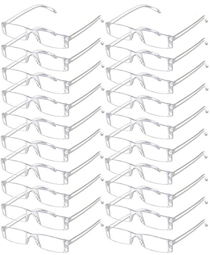 VEVESMUNDO Lesebrille Herren Damen Randlos Lesehilfe Sehhilfe Transparente Gläser Brille Klar ohne Rahmen 1.0 1.5 2.0 2.5 3.0 3.5 4.0 (20 Stück Transparente Gläser Brille, 2.0)
