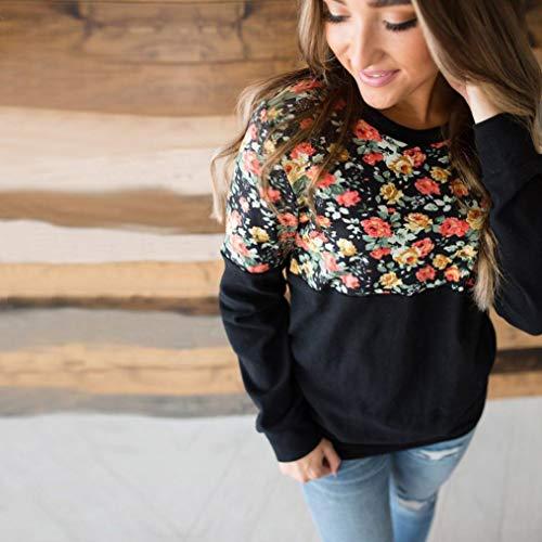 MORCHAN❤Mode Automne Hiver Femmes lâche chaîne Chaude o-Cou Manches Longues imprimé Floral t-Shirt Tops Sweat Cardigan Manteau Blouson Tunique Pull Gilet Chemise Blouse(FR-44 / CN-L,Noir)