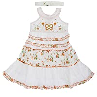 Girls Butterfly And Flower Design Summer Dress With Headband (3 Year) (Orange)