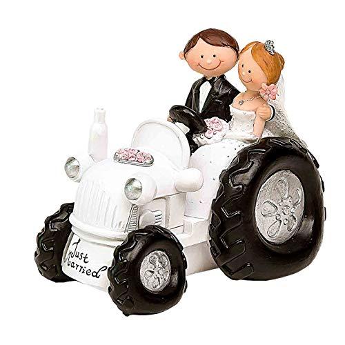 Funny Resin Figure for Wedding Cake'Novios en Tractor '. Memories. Decor. Original gifts. Details of Weddings, Communions, Baptisms, Birthday.CC