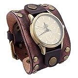Herren Armband Lederarmband, mit verstellbare Vintage Manschette Armbanduhr, Unisex 9.4 Zoll,Brownvintage
