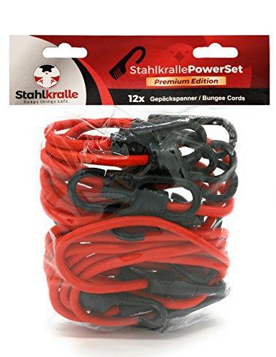 Preisvergleich Produktbild Stahlkralle PowerSet - 12x Premium Gepäckspanner mit vergossenem Stahlhaken / bis zu 10 mal stärker als andere Spanner!