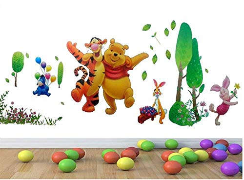 YESIAM Disney Winnie the Pooh und Naughty Leopard Wandsticker Niedliche Cartoon Kinder Wandaufkleber Abnehmbare Wallpaper Aufkleber DIY Wanddekoration Hausdekoration - 110 * 75cm (Wallpaper Disney Halloween Niedliche)
