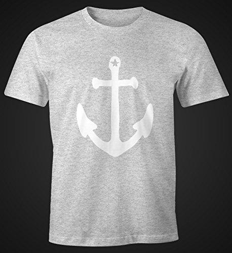 Herren T-Shirt Anker Anchor Stern Vintage FunShirt Moonworks® Grau-Meliert