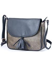 Italiansheer Satchels With Long Sling Strap Bag Having Double Tone Shade For Women & Girls ( Black::Moss Army...