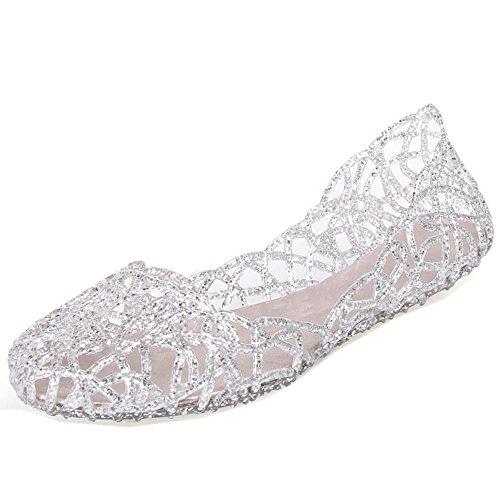 COOLCEPT Damen Mode Slip On Sandalen Geschlossene Cut Out Flach Schuhe White