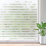 Rabbitgoo Privacy Window Film Static Cling Frosted Window Film Opaque Glass Film No Glue Window Sticker UV Protection White Stripe for Office Living Room or Kitchen 44.5*150CM