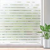Rabbitgoo Fensterfolie Streifen Sichtschutzfolie Selbstklebend Milchglasfolie Sichtschutz Folie für Büro Anti-UV 44.5x150CM