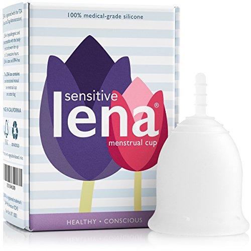 Lena empfindliche Menstruationstasse - komfortable Menstruation Cup - wiederverwendbare natürliche Alternative für Damenhygiene-sensible Anatomie – große frei für Superschwere Flow