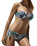 Mujer Trajes de Baño Bañadores Beachwear Imprimir Bandeau Push Up sin Tirantes Swimwear Bikinis S
