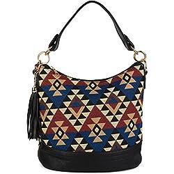styleBREAKER bolso tote bag en estilo boho con motivo de rombos, zigzag y a rayas, colgante de borla, bolso de hombro, bolso de bandolera, bolso, de señora 02012103, color:Negro-Rojo-Azul