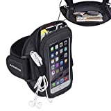 "Avantree Ninja Sports armband for iPhone 6 (4.7"")/ 5/5S/5C/4GS, Galaxy S3/S4, LG G2, HTC One etc. Easy Fitting Neoprene Sports Gym Jogging Exercise running iPhone 6 Armband with space for cards, key, money & earphone, anti-slip, with adjustable band, two outlet sockets for streaming music"