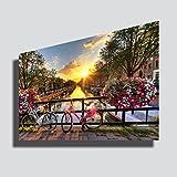 Quadro moderno XXL AMSTERDAM città bicicletta tramonto alba sunset - STAMPA SU TELA Quadri Moderni XXL Arte Moderno Arredamento arredo Cucina Soggiorno Camera da letto printerland.it (50x70 cm)